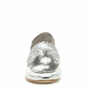 ALDO Amailla Silver Sequin Loafer Shoe